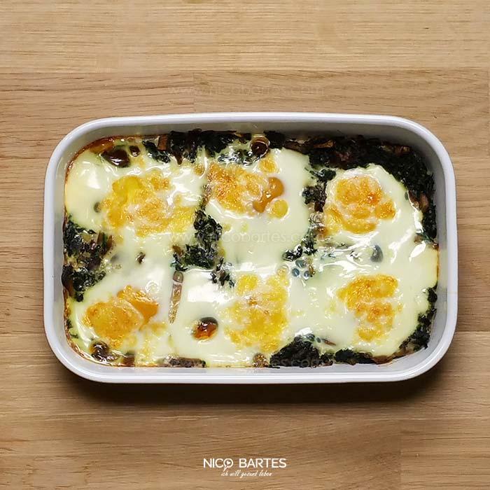 gebackene eier mit spinat und wenig kalorien nico bartes schnell abnehmen durch gesunde low. Black Bedroom Furniture Sets. Home Design Ideas