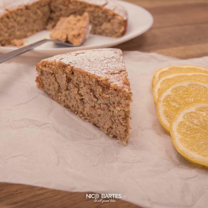 Zitronenkuchen   Gesunder Low Carb  Kuchen mit 5 Zutaten & wenig Kalorien