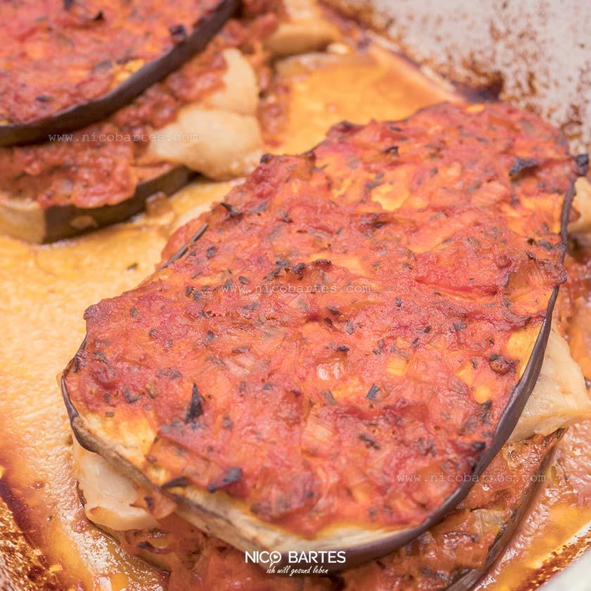 Auberginen Rezept mit Lachs | Low Carb Auflauf zum abnehmen
